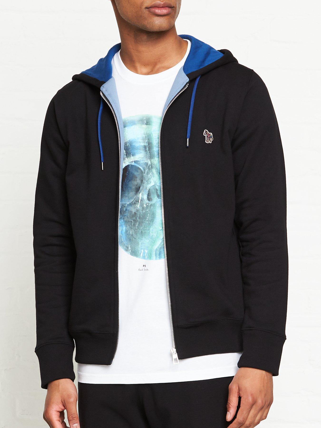 Paul Smith Mens Zebra Badge Logo Regular Fit Zipped Zip Hoody Hoodies In Blue