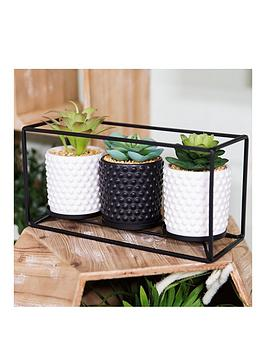 moroccan-black-metal-triple-wall-plant-holder