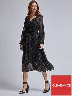 dorothy-perkins-ditsy-v-neck-long-sleeve-midi-dress-black