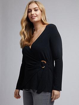 dorothy-perkins-curve-wrap-jersey-rib-top-black