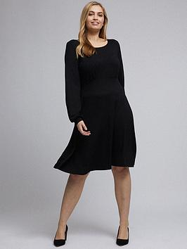 dorothy-perkins-curve-empire-seam-long-sleeve-midi-dress-blacknbsp