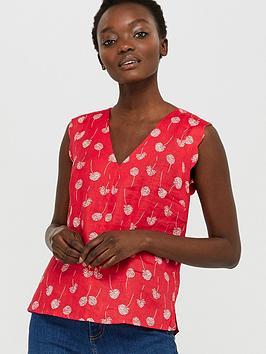 monsoon-dani-print-100-linen-scallop-top-red
