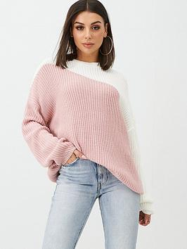 in-the-style-in-the-style-x-billie-faiers-asymmetric-colour-block-jumper-blush