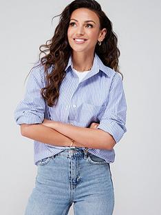 michelle-keegan-minimal-oversized-striped-cotton-shirt-blue-stripe