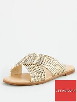 office-steffanni-cross-over-flat-sandals-gold