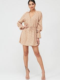 in-the-style-in-the-style-x-stephsa-polka-dot-button-down-dress-camel