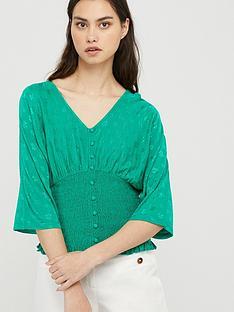 monsoon-janet-jacquard-shirred-short-sleeve-top-green