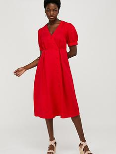 monsoon-terra-linen-blend-tea-dress-red