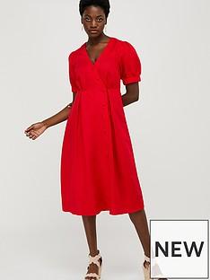 monsoon-terra-linen-blend-tea-dress-red