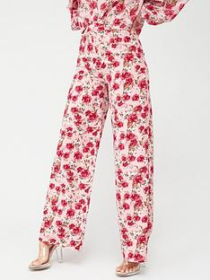 in-the-style-in-the-style-x-billie-faiers-rose-print-palazzo-trousers-pink