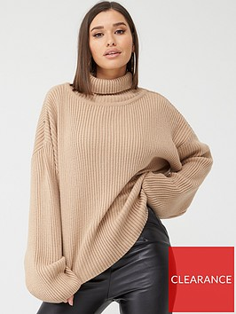 in-the-style-in-the-style-x-fashion-influx-oversized-rib-roll-neck-jumper-camel