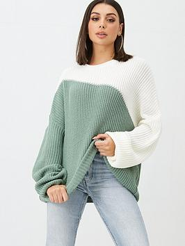 in-the-style-in-the-style-x-billie-faiers-asymmetric-colour-block-jumper-green