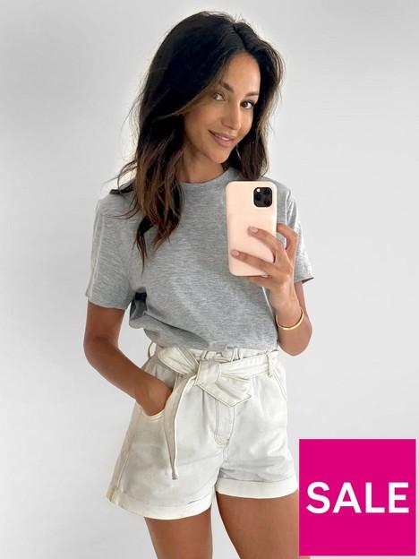michelle-keegan-minimals-short-sleeve-t-shirt-grey-marl