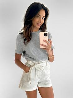 michelle-keegan-minimals-short-sleeve-t-shirt-grey-marl