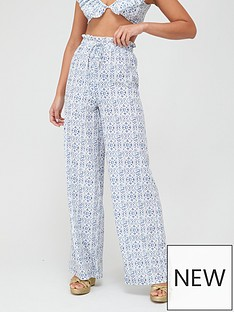 in-the-style-in-the-style-x-billie-faiersnbsptile-print-paperbag-trousers-blue