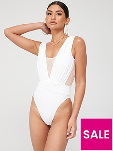 in-the-style-in-the-style-x-billie-faiers-mesh-insert-plunge-swimsuit-white