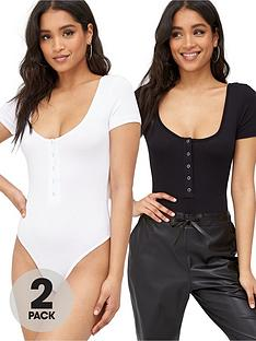 missguided-missguided-popper-short-sleeve-bodysuit-2-pack-blackwhite