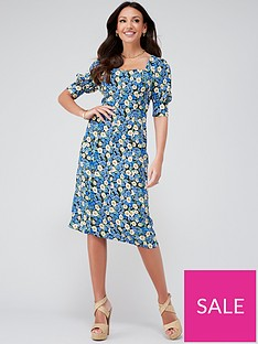michelle-keegan-button-through-printed-midi-dress-floral