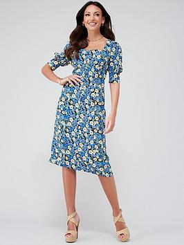 michelle-keegan-button-through-printed-midi-dress-floral