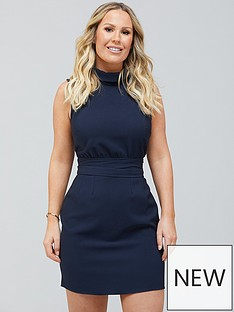 kate-ferdinand-tie-waist-mini-dress-navy