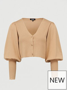 missguided-balloon-sleeve-cropped-cardigan-tan
