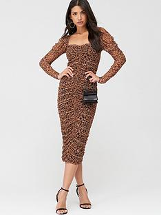 missguided-missguided-mesh-leopard-puff-sleeve-midi-dress-brown