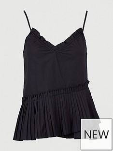 missguided-missguided-poplin-pleated-cami-top-black