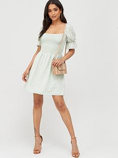 missguided-missguided-textured-shirred-mni-dress-mint