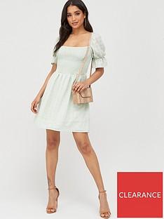 missguided-missguided-textured-shirred-mni-dress-mint