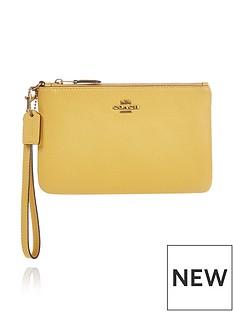 coach-polished-pebble-leather-wristlet-yellow