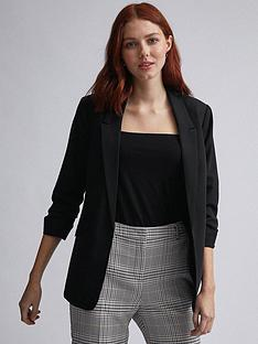 dorothy-perkins-ruched-jacket-black