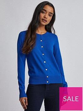 dorothy-perkins-petite-fine-gauge-button-cardigan-blue