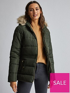 dorothy-perkins-short-padded-coat-olive-green