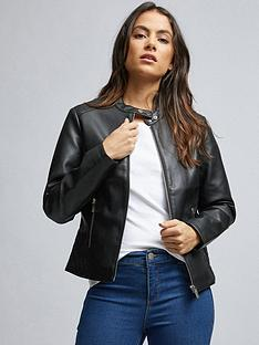 dorothy-perkins-dorothy-perkins-petite-faux-leather-collarless-jacket-black