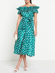 talulah-all-my-days-polka-dot-off-shoulder-dress-green