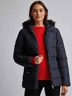 dorothy-perkins-short-padded-coat-navy
