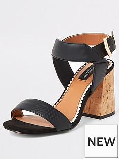 river-island-river-island-wide-fit-two-part-cork-sandal-black