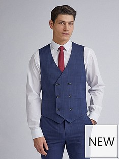 burton-menswear-london-highlight-check-skinny-fit-waistcoat-navy