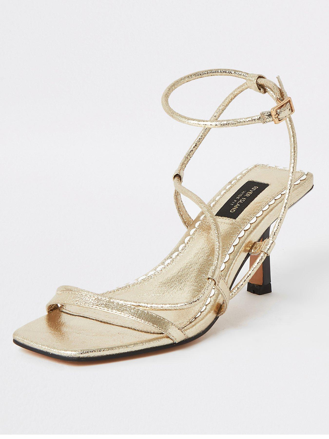 RIVER ISLAND Barely There Platform Party Shoes 4 Strap Peep Toe Leather 6 39 £79