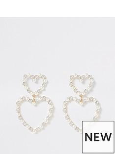 river-island-river-island-pearl-diamante-double-heart-drop-earrings-gold