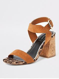 river-island-river-island-wide-fit-two-part-cork-sandal-tan