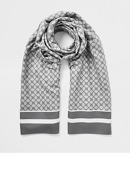 river-island-monogram-print-scarf-grey
