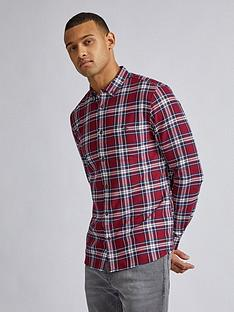 burton-menswear-london-baldwin-check-long-sleeve-shirt-burgundynbsp