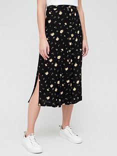 v-by-very-spun-split-midi-skirt-black-floral