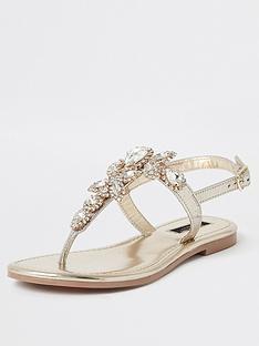 river-island-river-island-wide-fit-embellished-thong-leather-sandal-gold