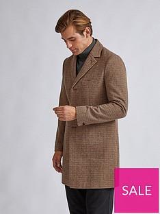 burton-menswear-london-faux-mini-check-wool-coat-brown