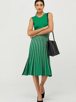 monsoon-mimi-rib-stripe-dress-green