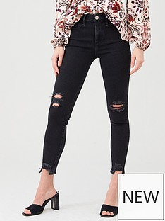 river-island-river-island-mid-rise-molly-ripped-knee-raw-hem-denim-jegging-black