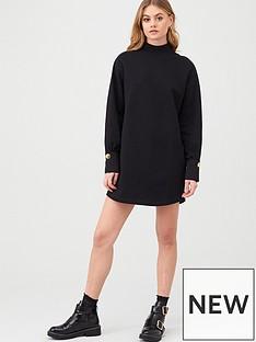 river-island-river-island-button-cuff-jersey-sweater-dress-black