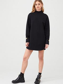 river-island-river-island-button-cuff-jersey-sweater-dress-black